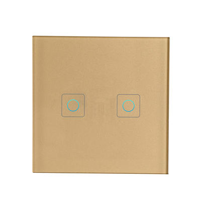 Touch Control 2 Gangs 2 Ways Tempered Glass Panel Smart Wall Switch